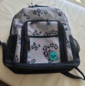 Roxy backpack grey black & aqua w/leopard print